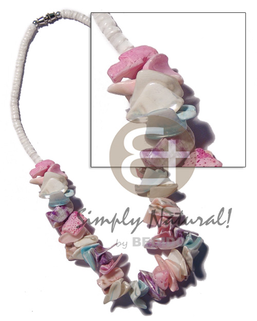Pastel crazy cut shells in Shell Necklace