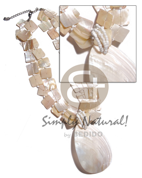 3 rows 15mm floating kabibe Shell Necklace