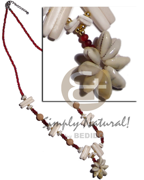 Red glass beads white Shell Necklace