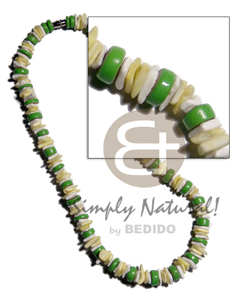 Green 7-8mm coco pokalet Shell Necklace