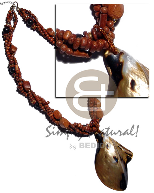 hand made 3 rows twisted bayong natural Shell Necklace