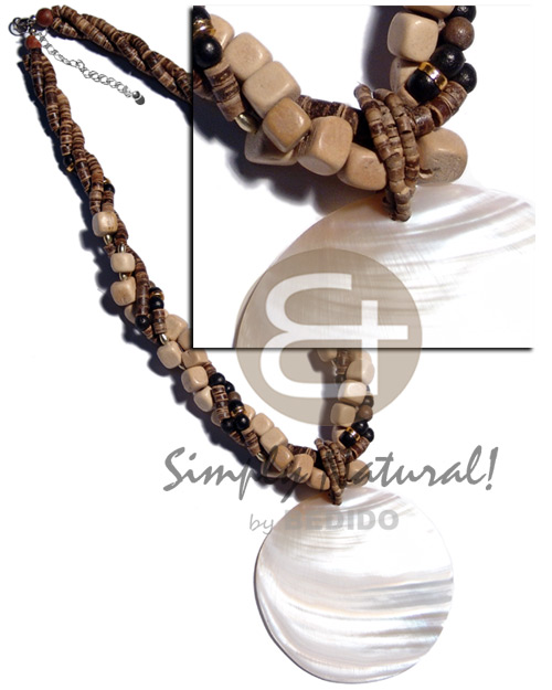 3 rows twisted 7-8mm coco Shell Necklace