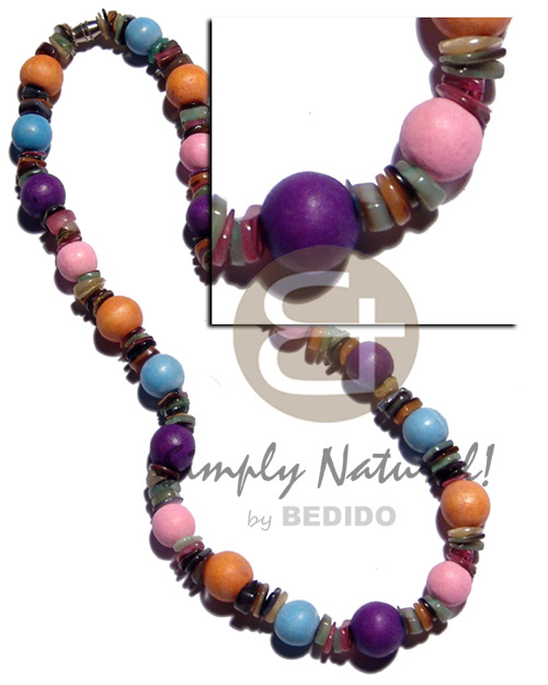 Multicolored 10mm round. natural wood Shell Necklace