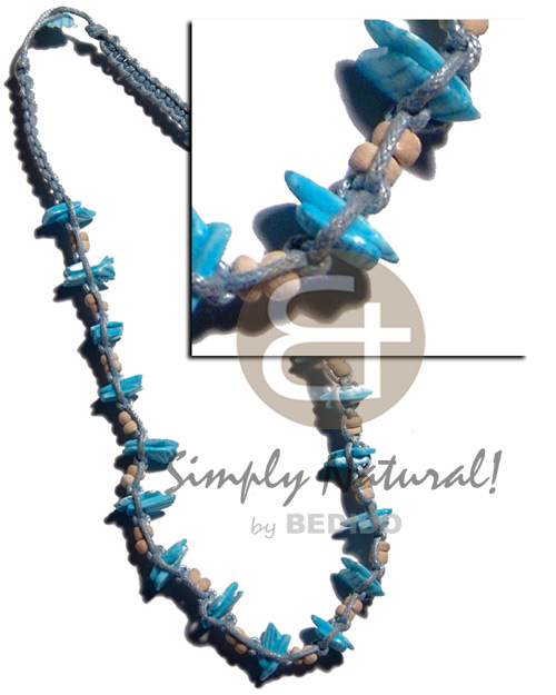 Aqua blue macrame Shell Necklace