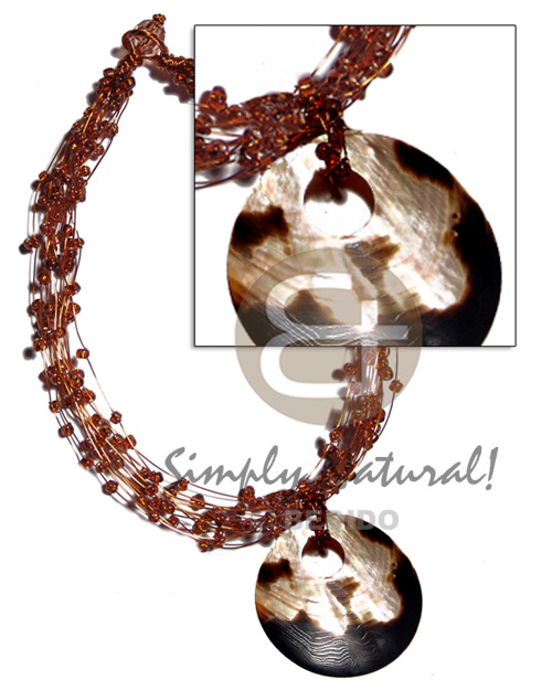 13 rows copper wire choker Shell Necklace