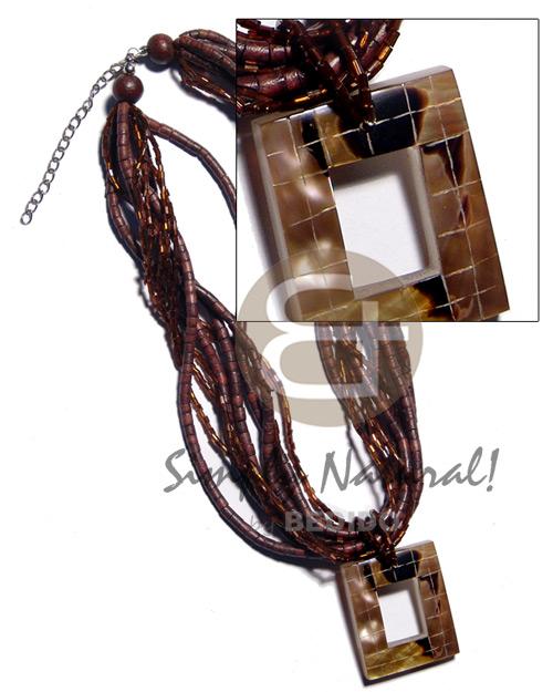 40mmx35mm rectangular blocking brownlip tiger Shell Necklace