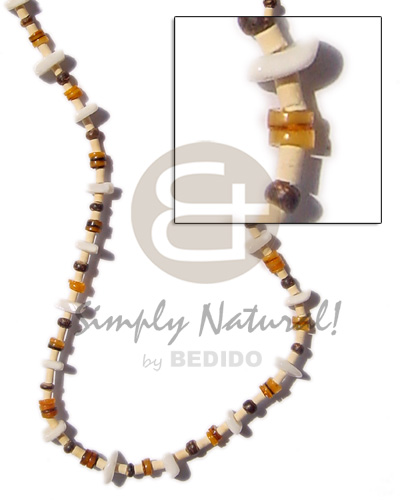 2-3 heishe bleach pukalet natural Shell Necklace