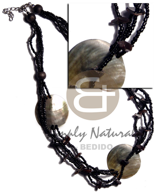 hand made 3 pcs. 30mm round blacklip Shell Necklace