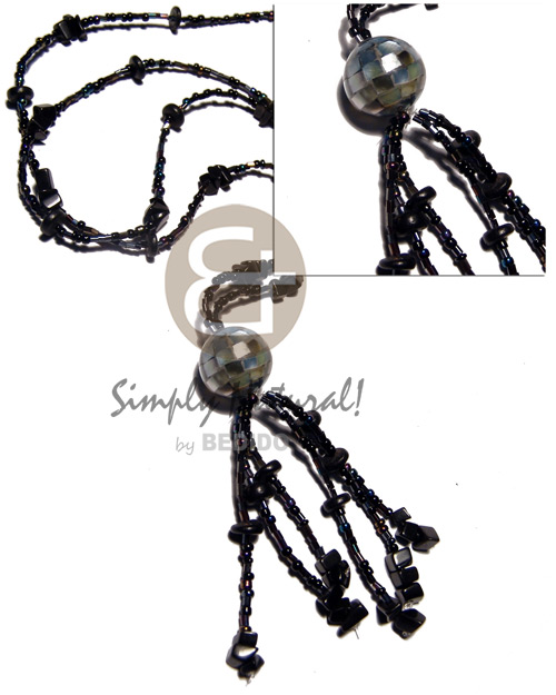 1 layers blackcut and glass Shell Necklace