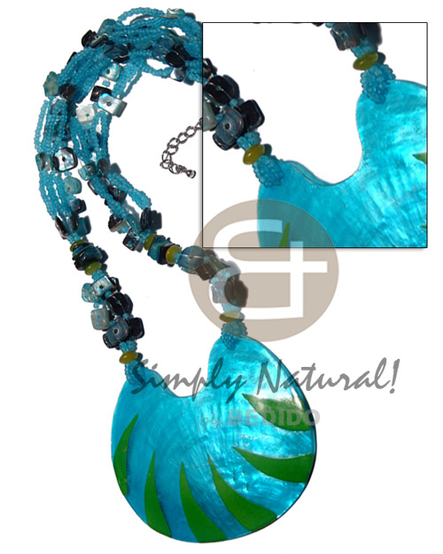 5 layers glass beads Shell Necklace