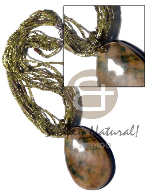 hand made 10 rows olive green cut Shell Necklace