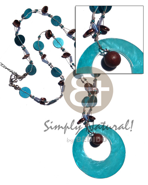 Floating aqua 10mm sequins and Shell Necklace