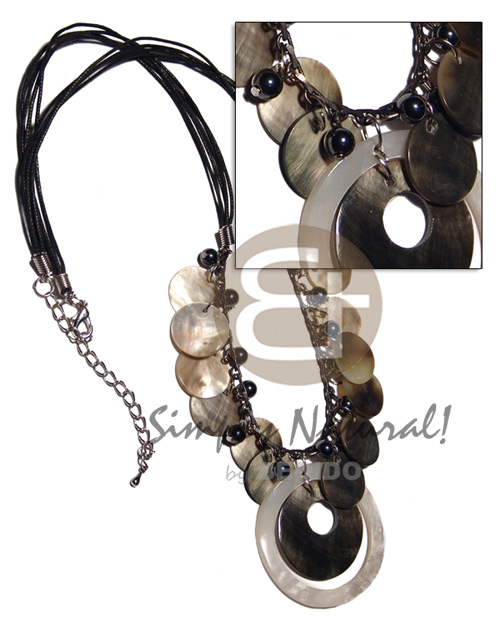 4 layers black wax cord Shell Necklace