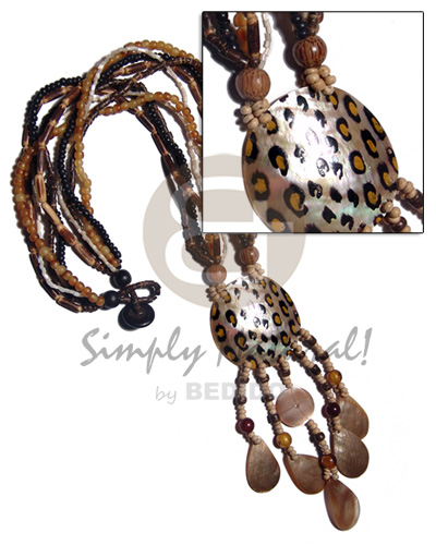 5 layers sig-ed2-3mm black.brown coco Shell Necklace