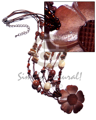 3 rows brown wax cords Shell Necklace