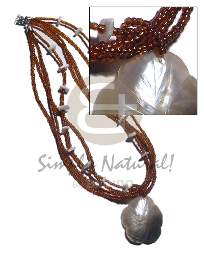 4 layers amber glass beads Shell Necklace