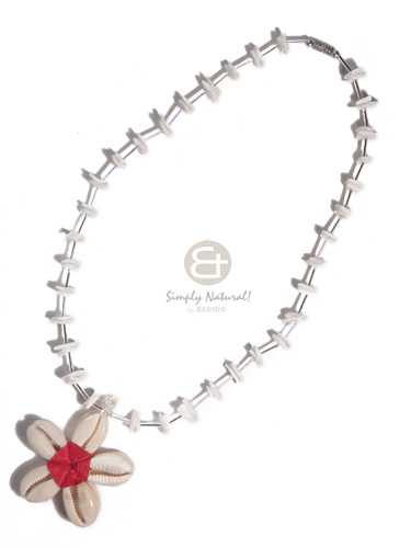 Double sided sigay flower Shell Necklace