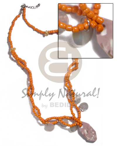 Orange intertwined glass beads Shell Necklace