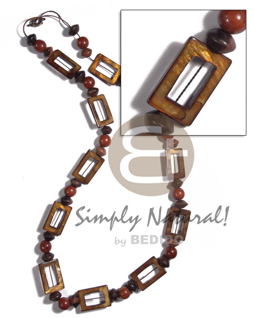 30mmx20mm rectangular laminated golden amber kabibe shell rings ( 11 pcs.) in high gloss  wood beads accent / 30in - Shell Necklace