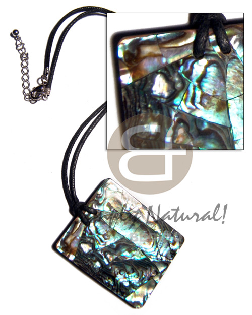 55mmx45mm rectangular crackled paua abalone in 3mm black resin backing and 2mm black wax cord / 18in - Shell Necklace