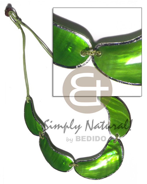2 rows wax cord choker  kabibe shells in neon green tones  metallic silver edging - 60mmx45mm/50mmx30mm/45mmx25mm / 18in /  knotted cord and coco stopper - Shell Necklace