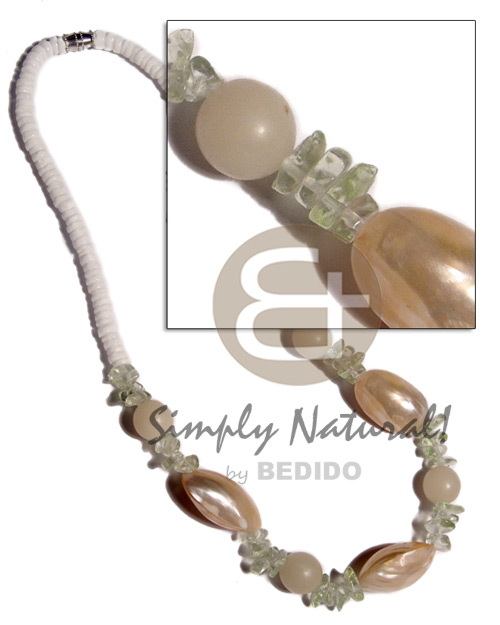4-5mm white clam heishe  3 pcs. gold mouth shells, buri beads and acrylic chips accent / 16in / barrel lock - Shell Necklace