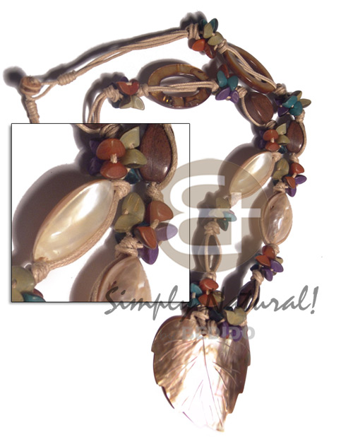 hand made 4 rows beige knotted wax Shell Necklace