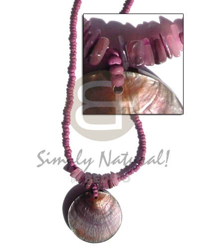 2-3mm coco pokalet old rose Shell Necklace