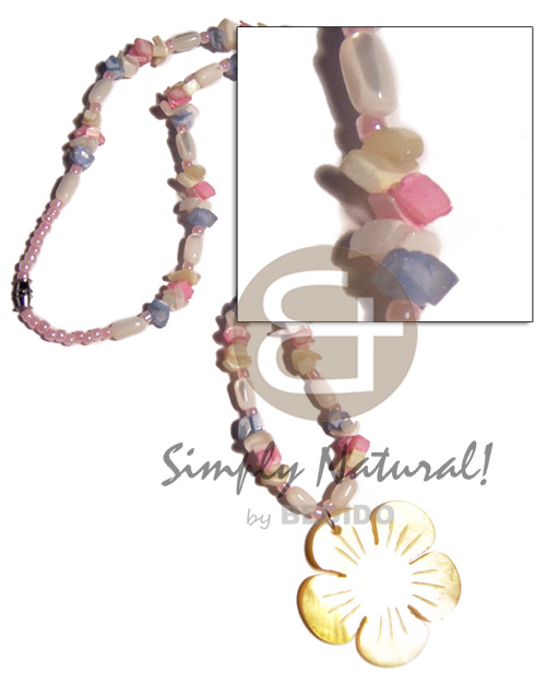 troca rice beads  pastel colored crazy cut shells combination and 40mm yellow hammershell flower - Shell Necklace