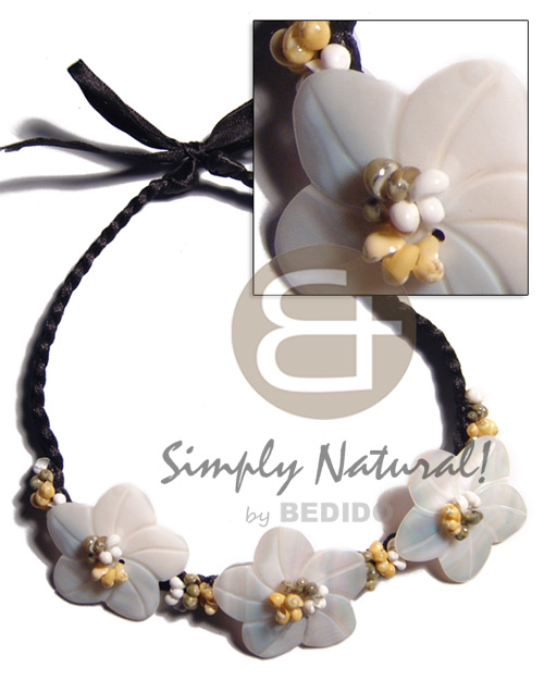 braided black satin cord  choker  3 pcs. 45mm kabibe flower shells and white/green/yellow mongo shells accent / 16in plus 14in. extender ribbon - Shell Necklace