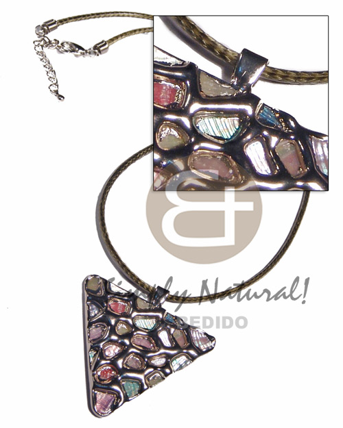 Triangle 50mm glistening abalone in Shell Necklace