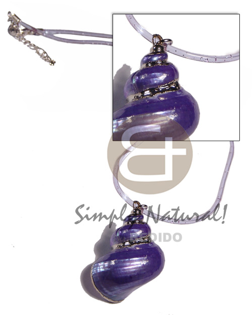 hand made Clear purple jelly cord Shell Necklace