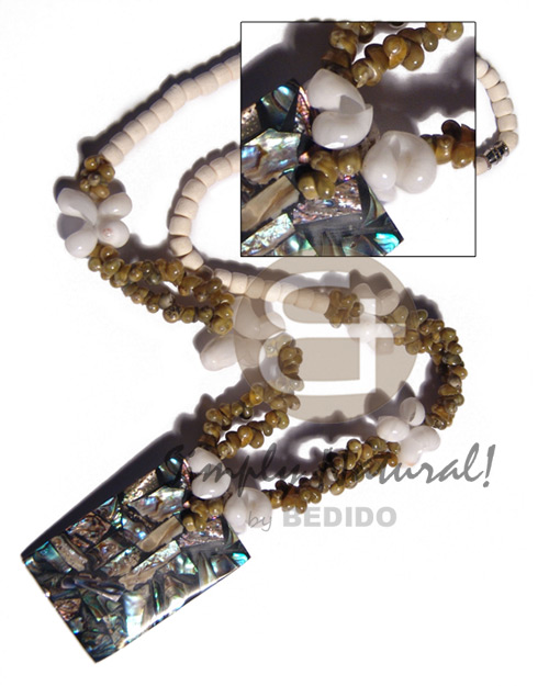 4-5mm bleached white coco Pokalet  moon shells and green mongo shells combination and rectangular 45mmx30mm laminated paua shells  nicarta backing pendant / 20in. - Shell Necklace