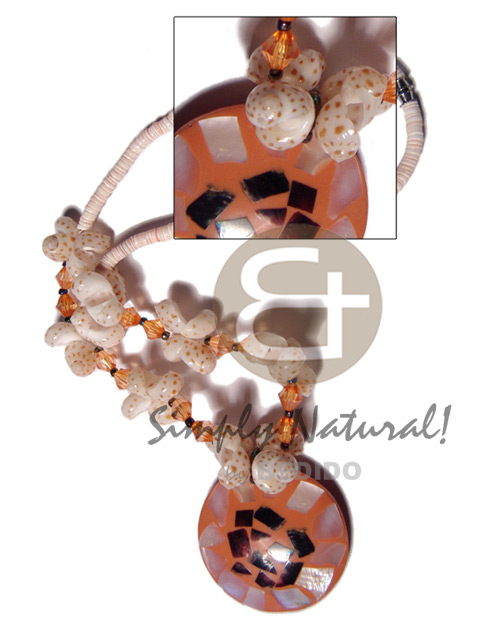 2-3mm pink luhuanus heishe Shell Necklace