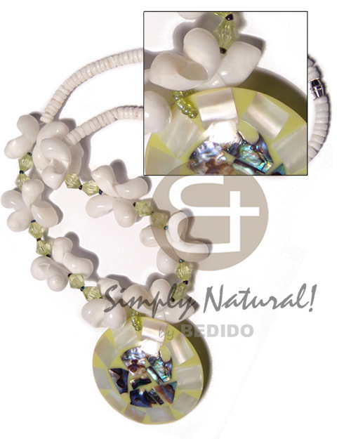 hand made 4-5mm white clam heishe Shell Necklace