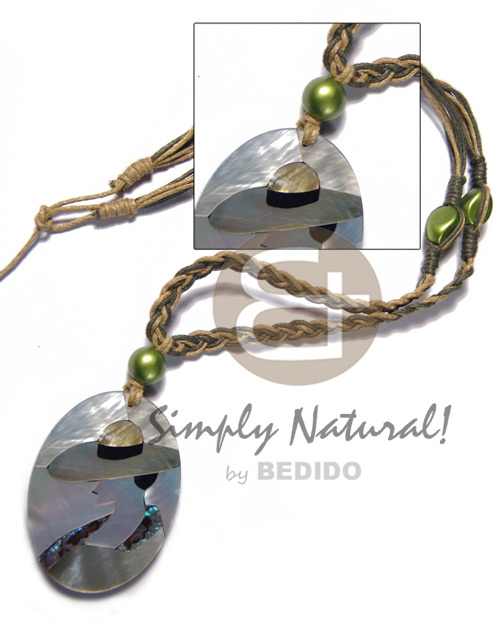 macrame wax cord in olive green and golden brown combination and 50mmx38mm oval pendant /elegant hat lady delicately etched in shells - brownlip, blacklip and paua combination in jet black laminated resin / 5mm thickness / 18in - Shell Necklace