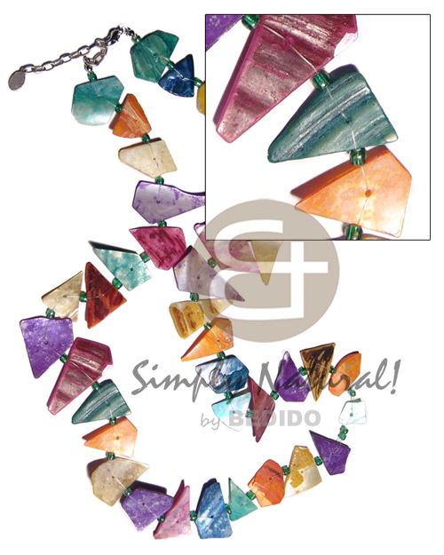 hand made Floating crazy cut multicolored hammershells Shell Necklace