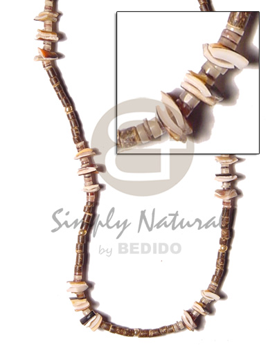 2-3 nat brown coco heishe Shell Necklace
