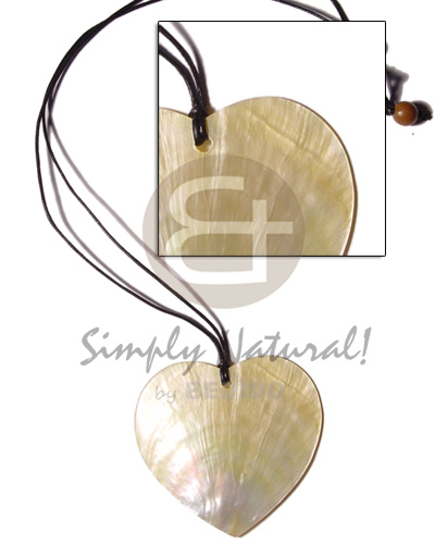 hand made Cord 50mm heart mop Shell Necklace