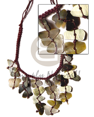 Dark brown macramie dangling Shell Necklace