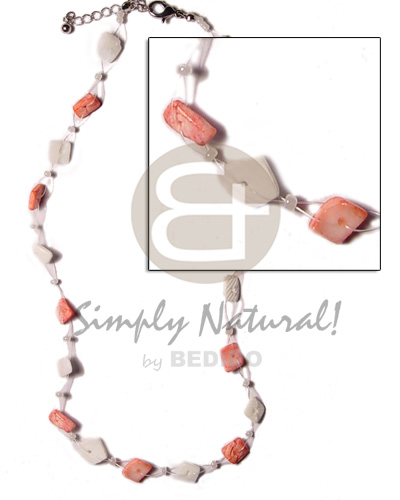 Floating nuggets - white rose Shell Necklace