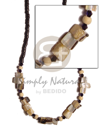2-3 mm coco heishe black Shell Necklace