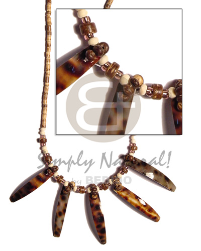 2-3 coco heishe tiger Shell Necklace