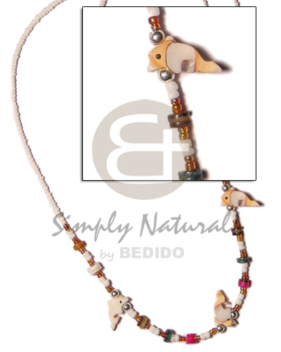 White glass beads luhuanus Shell Necklace