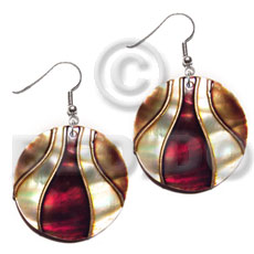 dangling 35mm round kabibe shells embellished  elevated /embossed metallic paint accent lines / maroon and golden brown tones - Shell Necklace