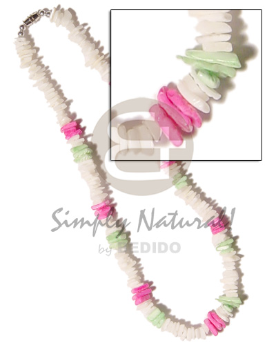 hand made White rose pink green combination Shell Necklace