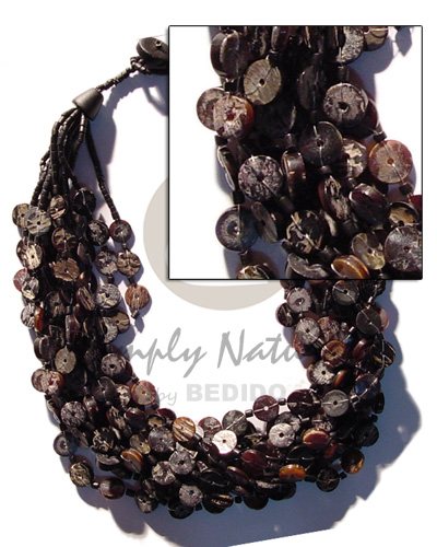 6 layers 7-8mm black pen Shell Necklace