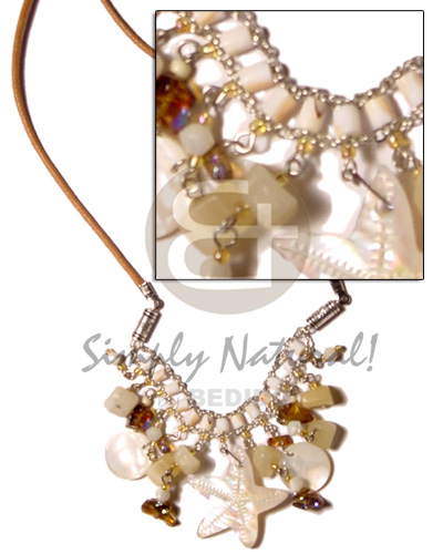 Dangling mop hammershells and crystal Shell Necklace
