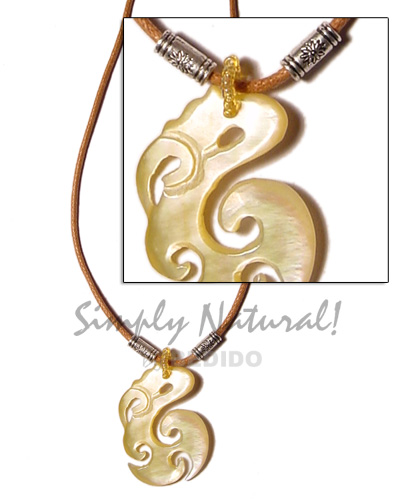Celtic mop in wax cord Shell Necklace