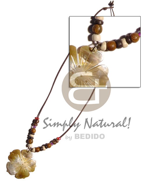 Wax cord coco pokalet wood Shell Necklace